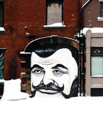 Teddy Boy (in the snow) painted by EMA.  Sheffield