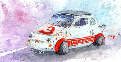 Postcard Cafe Fiat 500 Abarth by Victoria Butterell
