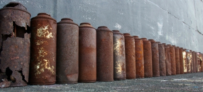 Rusty Spray Paint Cans.  Sheffield 2013