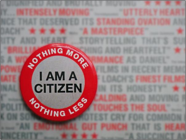 I AM A CITIZEN - NOTHING MORE - NOTHING LESS  | I Daniel Blake 2016 | Ken Loach | Photograph by Postcard Cafe www.postcardcafe.wordpress.com  (sp1000446e)