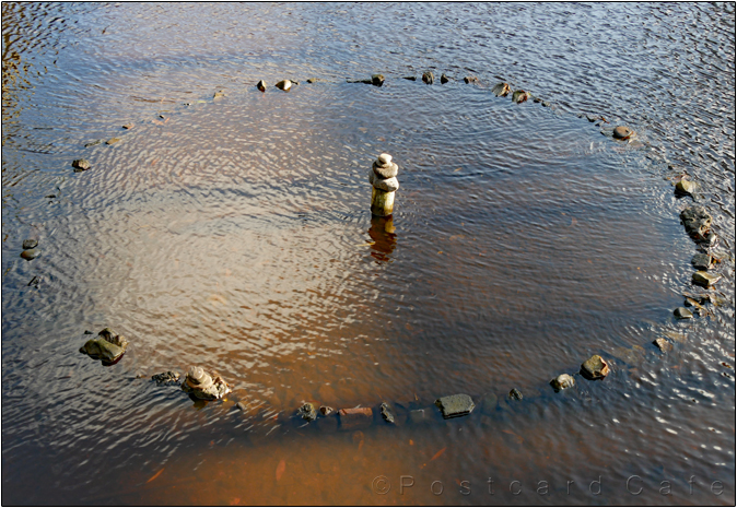 Stone Circle | Sculpture by Dan in the River Don | Sheffield | November 2016 | © Postcard Cafe  (sp1000732)