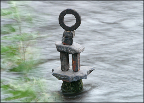 Pi | Sculpture by Dan in the River Don | Sheffield | November 2016 | © Postcard Cafe  (sp1000779e)
