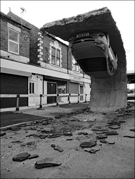4. Pick Yourself Up And Pull Yourself Together | 2017 | Alex Chinneck | © Postcard Cafe | SP1030446E B&W
