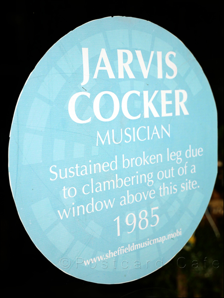 Jarvis Cocker Blue Plaque | Division Street Sheffield | © Postcard Cafe 2019 | SP1000621E